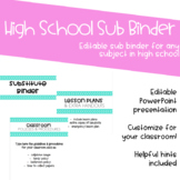 High School Substitute Binder - Editable