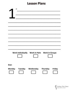 High School Substitute Lesson Plan Form for 1st - 7th Periods