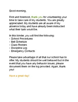 High School Substitute Teacher Survival Kit