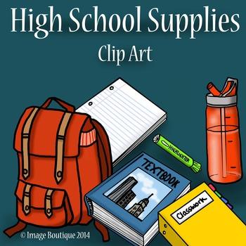 High School Supplies Clip Art