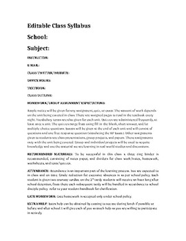 High School Survival Editable Documents