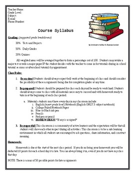 High School Syllabus