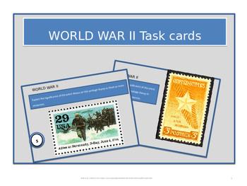 High School Task Cards - World War II