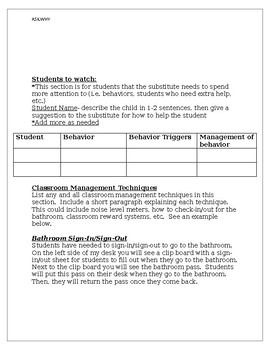 High School Teacher Sub Plan Template
