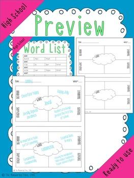 High School Tier 2 Vocabulary Words, Practice & Quiz {10 Weeks}