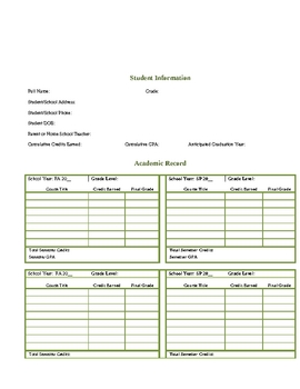 High School Transcript Packet for Homeschools