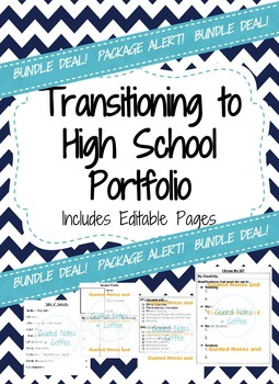 High School Transition Portfolio (6th-8th) includes Editable Pages