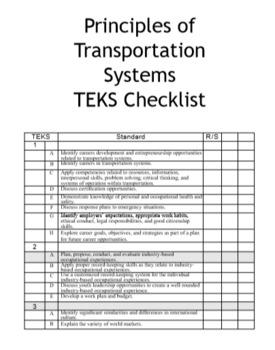 High School Transportation, Distribution, and Logistics TEKS Checklists