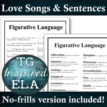 Figurative Language Quiz -- Songs & Sentences 1