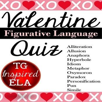 Figurative Language Quiz -- Love Songs & Sentences 1 -- Perfect for Valentine's!