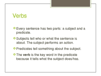 High School Verbs PowerPoint