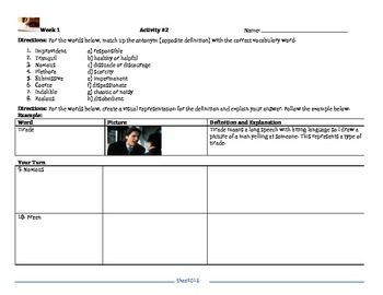 High School Vocabulary Activities and Worksheets Week 1