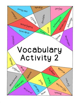 High School Vocabulary Activity Critical Thinking PDF Printable - Number 2