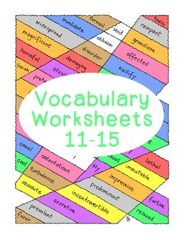 High School Vocabulary Critical Thinking PDF Printable Numbers 11-15 Five Sheets