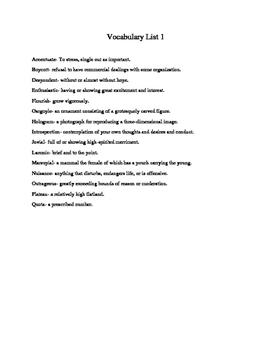 High School Vocabulary Tests Bundle 1