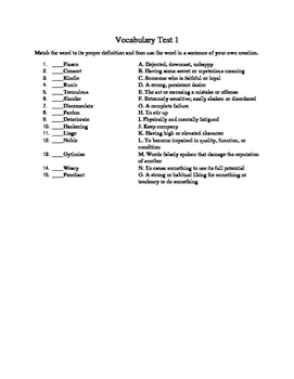 High School Vocabulary Tests 4