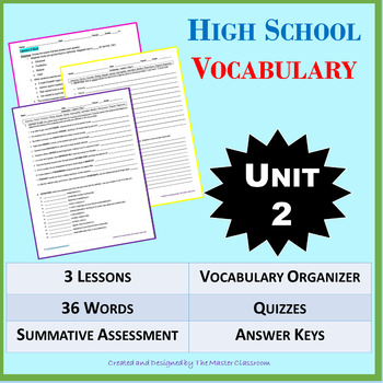NO PREP High School Vocabulary (4 weeks) - Unit 2