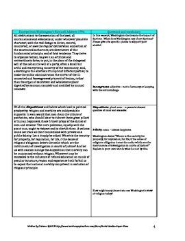 High School-Washington's Farewell Address-Text Dependent Q's/Close Reading