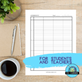 Weekly Assignment Planner (High Contrast)