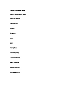 High School World Geography Introduction Exam And Study Guide
