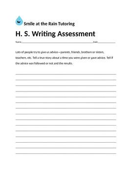 High School Writing Assessment Packet