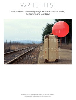 High School Writing Prompt, Creative (Balloon & Suitcase)