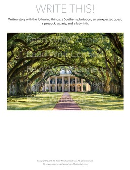 High School Writing Prompt, Creative (Southern Plantation)