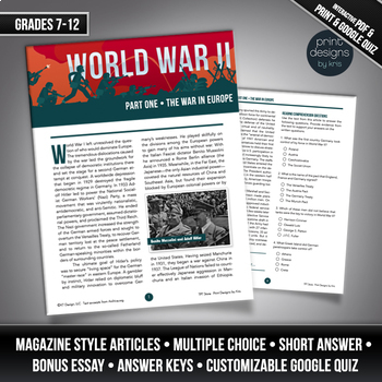 High School or Middle School Reading Comprehension - World War II PART ONE