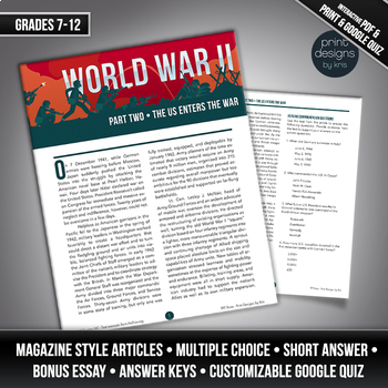 High School or Middle School Reading Comprehension - World War II PART TWO
