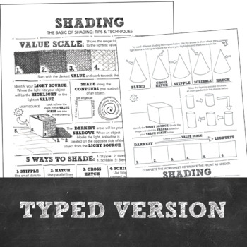 High School or Middle School Visual Art: Shading Basics Tips and Techniques