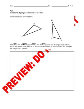 High Schools Geometry Assessment: Congruence