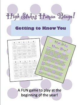 High Stakes Human Bingo: Getting to Know You Start of Year Game