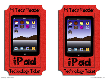 High Tech Reader Tickets for Daily 5 or Literacy Stations
