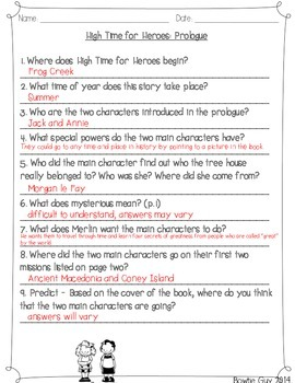 High Time for Heroes {Magic Tree House} Comprehension Activities