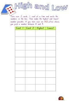 High and Low Card Activity  - Place Value