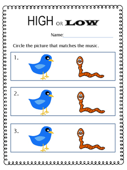 High and Low - Listening Visuals & Worksheet
