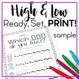 High and Low - Ready Set Print! {FREE Preview}