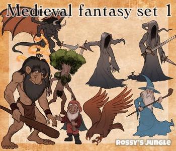 High ed. Series: Medieval fantasy mythology clip art set 1