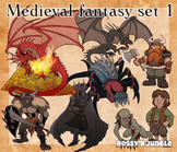 High ed. Series: Medieval fantasy mythology clip art set 1