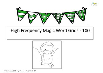 High frequency magic word grids - first 100 words