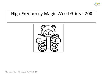 High frequency magic words - 200 level word grid