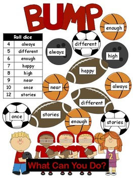 High frequency word BUMP Journeys Unit 6