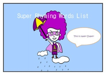 High-frequency word rhyming list with classroom activities