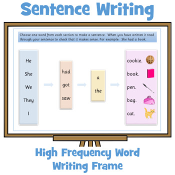 High frequency word writing frame