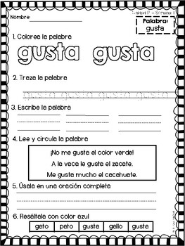 High frequency words in Spanish - Calle de la lectura Unit P - 1stGrade