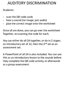 High or Low - Auditory discrimination QR cards and worksheet