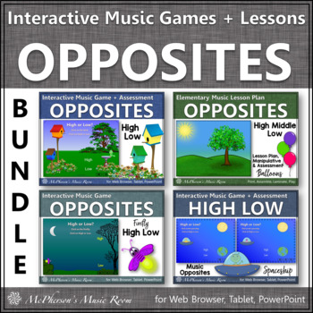 High Low Music Opposite Interactive Music Games + Music Lesson Plans {Bundle}
