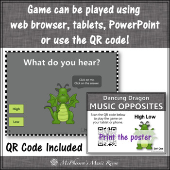 High or Low ~ Music Opposite Interactive Music Game + Assessment {dragon}