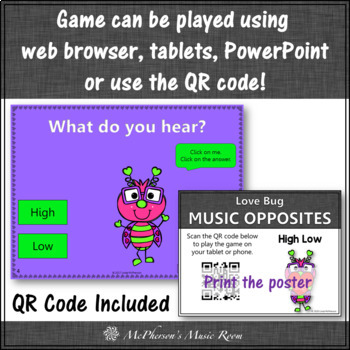 High or Low Interactive Music Game and Assessment {Love Bug}