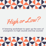 High or Low Music listening worksheet